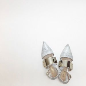 Mode Collective Metal Plate Pointed Toe Flat